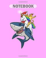 Notebook: cat riding unicorn shark christmas holidays - 50 sheets, 100 pages - 8 x 10 inches