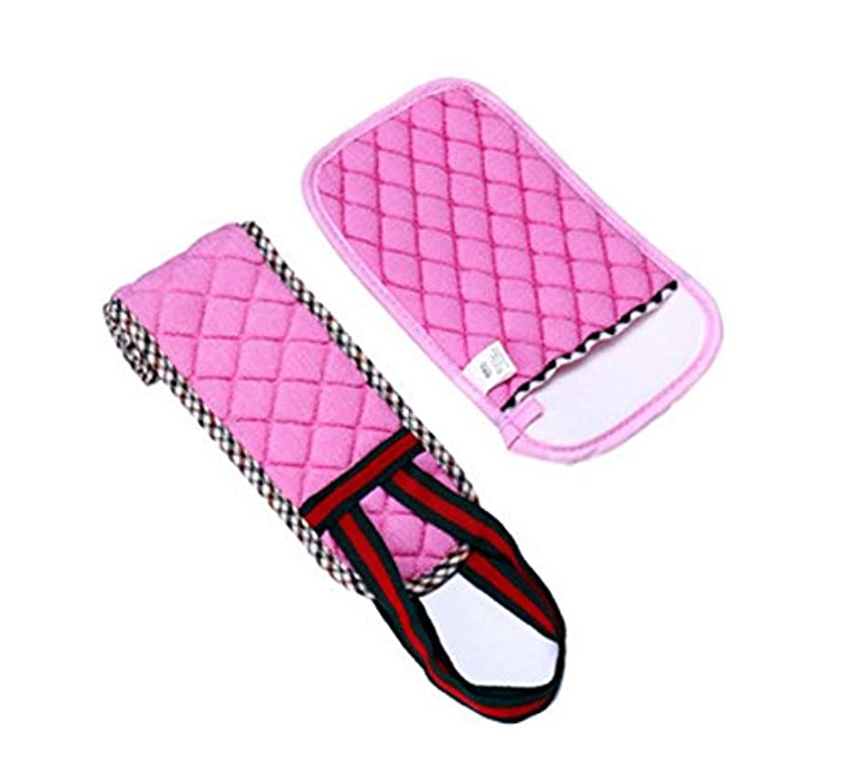 ブラジャー熱ティッシュ2プルバックロングバスタオル/ラブマッドアダルト手袋セット、ピンク