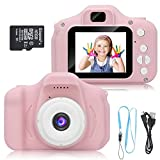 Kid Camera for Girls or Boys Age 3-10, 8 Mega Pixel Dual Lens 2.0 inch HD Screen with Mic and16GB Memory Card (Color : Pink)