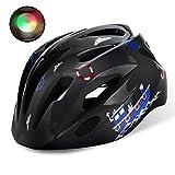 Shinmax子供ヘルメット,ledライト付き s m l xlサイズ調整可能 幼児 キッズ 小学生 こども用 超軽量 自転車 スケートボードキックボード、インラインスケート、BMX、MTBなど適用 かわいいスポーツヘルメット (黒)