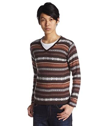 Fair Isle Wool V-neck Sweater 1213-131-0861: Brown