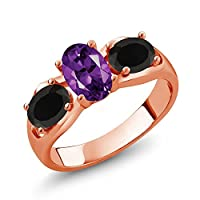 Gem Stone King 1.53カラット 天然 アメジスト 天然 オニキス シルバー925 ピンクゴールドコーティング 指輪 リング