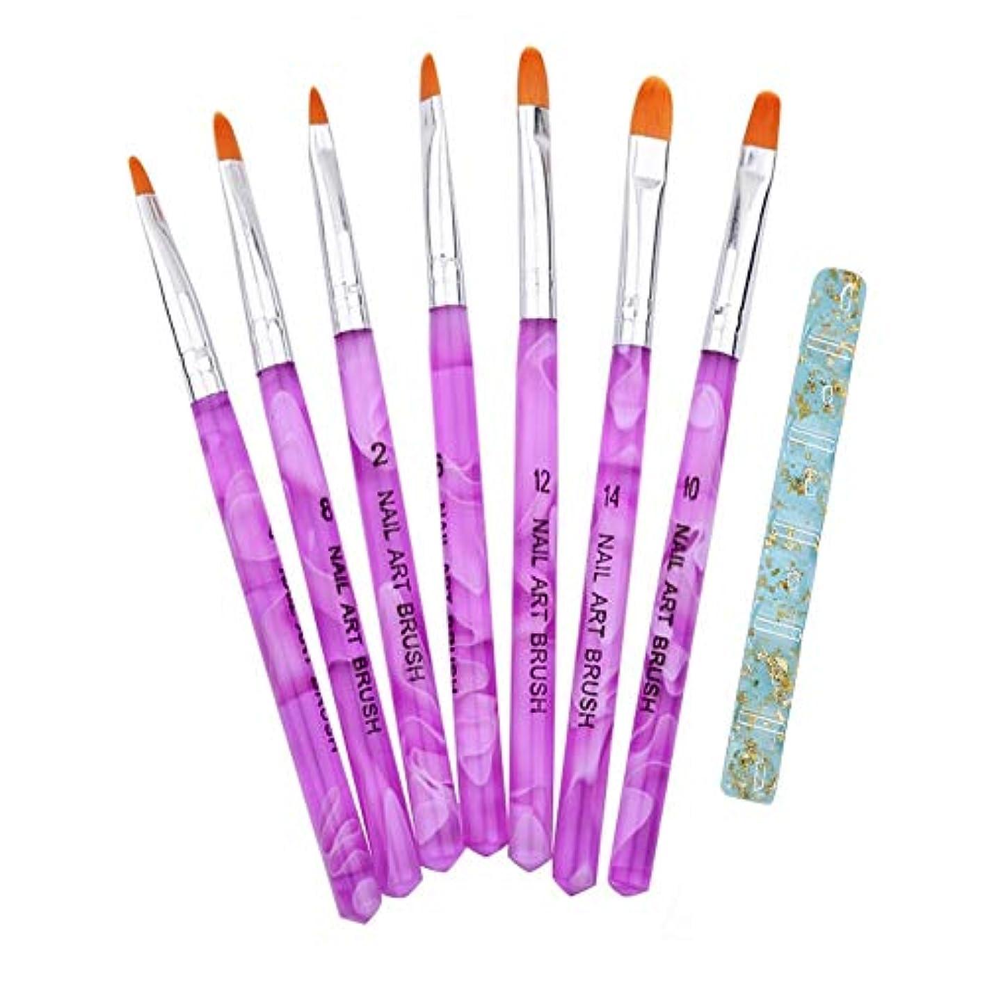 定数プレビュー転送ジェル ネイル ブラシ UV 用 平筆 ブラシ 7本 セット 爪 アート プロ仕様 (7本セット)