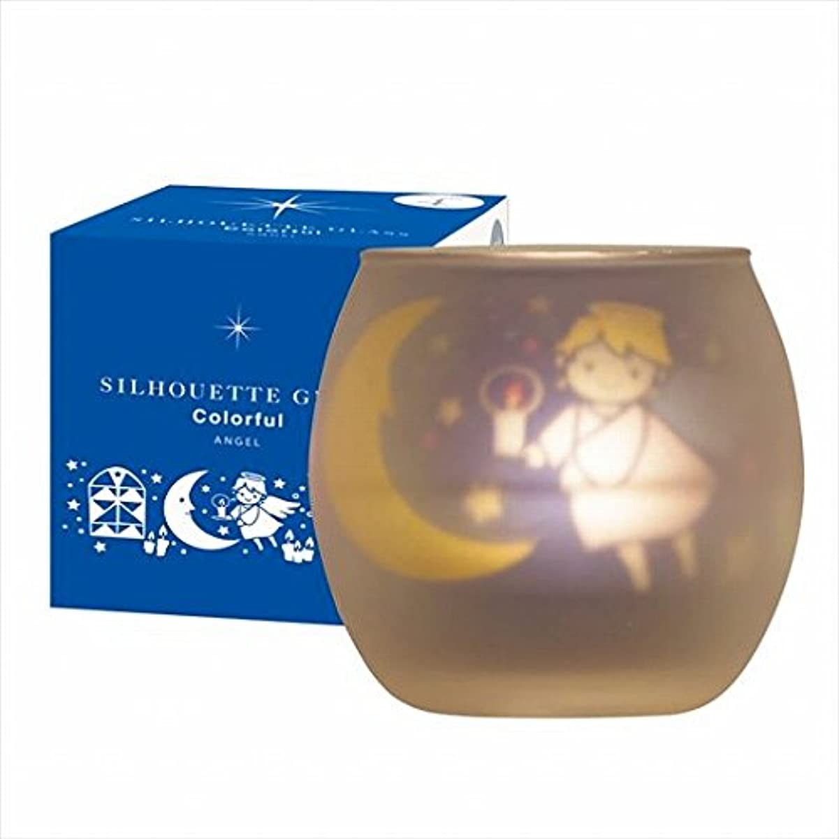 盲信講師スローガンカメヤマキャンドル(kameyama candle) シルエットグラスカラフルエンジェル【キャンドル4個付き】