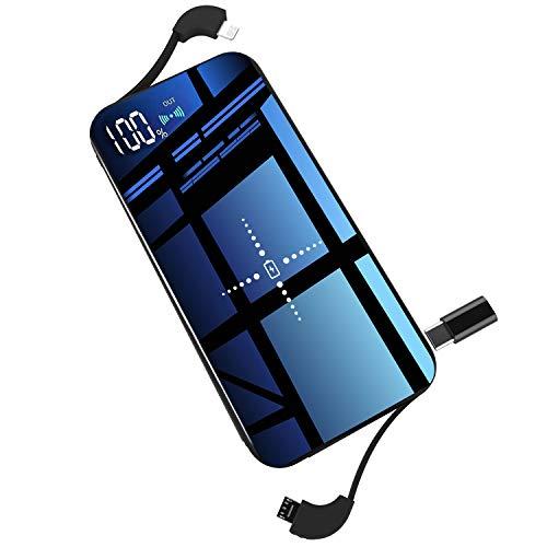 モバイルバッテリー ワイヤレス充電器 Qi 10000mAh 大容量 軽量 薄型 急速充電 無線充電器 【PSE認証済】 ケーブル内蔵 ガラス画面 置くだけ充電 持ち運び USBポート micro USB ポート lightning TYPE-C 変換アダプターが付き 無線と有線両用 4台同時充電 残量表示機能付き iPad Pro / iPhone X / XS MAX / XS / XR / iPhone8 / 8Plus / Galaxy Note9 / S9 / S9+ / S8 / S8 Plus / S7 edge / Sony Xperia XZ3 / XZ2 Premium 各種他QI対応 出張 地震防災 黒