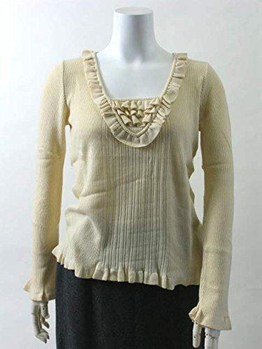 ANNA MOLINARI セーター イタリアサイズ-44 スクエアクルー ベージュ フリル リブニット カシミヤ アウター