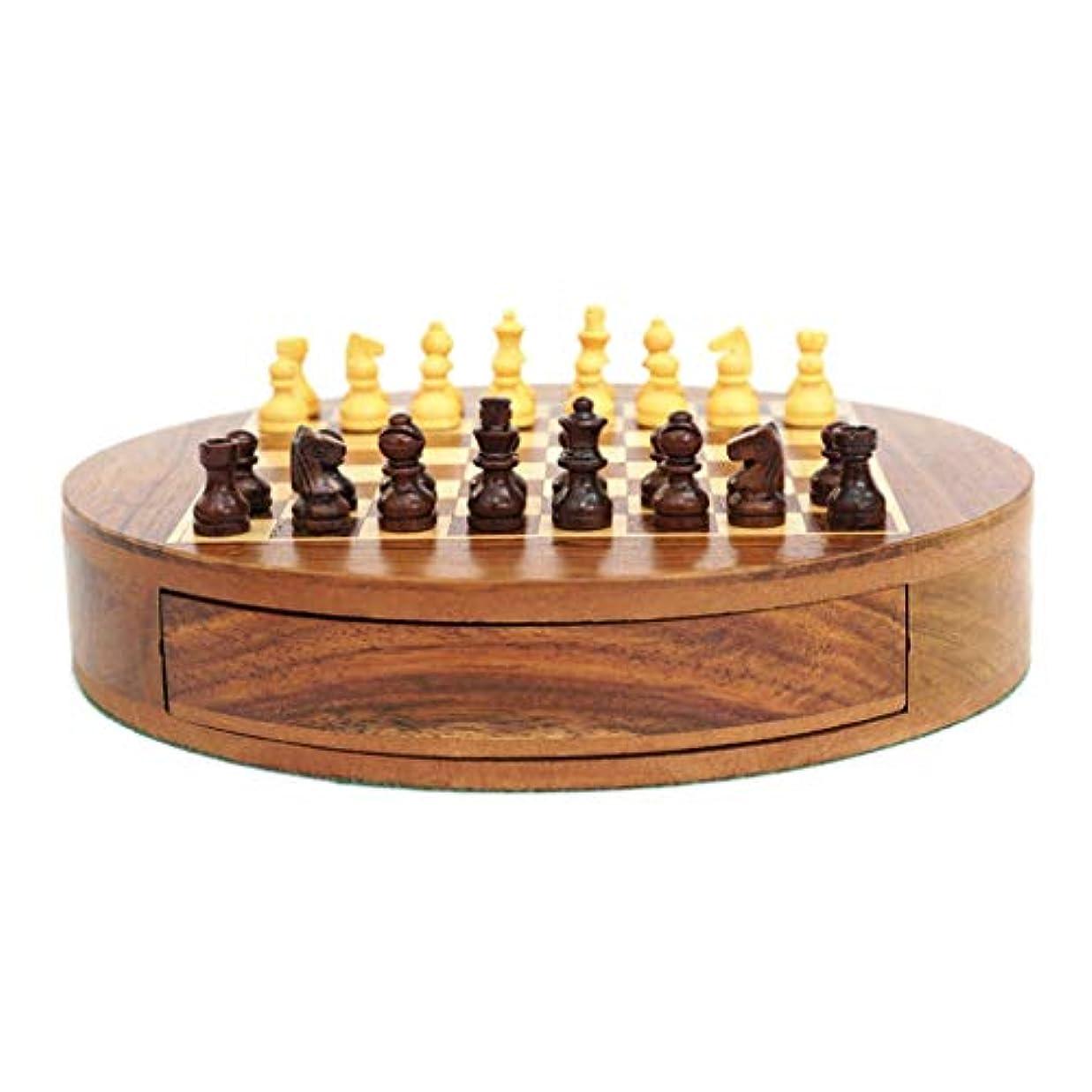 チェス クリエイティブ木製ラウンドチェスセット磁気チェスピースキッズ知育開発玩具引き出し収納チェッカーチェス チェス (Color : Wood, サイズ : 22.7*22.7*4cm)