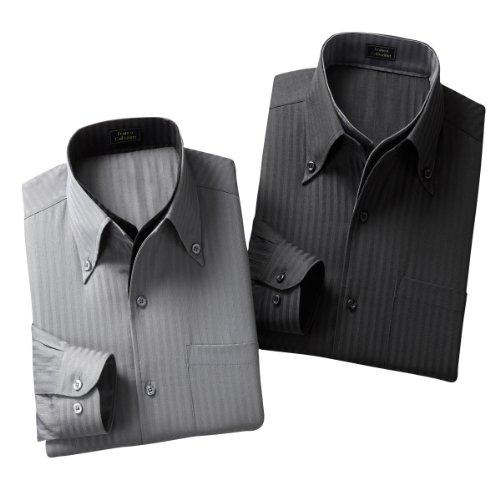 (フランコ コレツィオーニ)Franco Collezioni 二重衿ドレスシャツ2枚組 50257 50257  ブラック グレー L