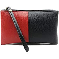 LALANG Black Red Contrast Color Men Women Wallet Zipper Clutch Coin Purse Portable Handbag