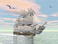 Diyの油絵子供のためのデジタル油絵大人初心者16x20インチ、移動するヨット--クリスマスの装飾ホームインテリアギフト (フレームなし)