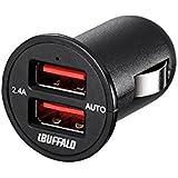 iBUFFALO USBカーチャージャー 2.4A急速2ポート オートパワーセレクト搭載 BSMPS2401P2BK