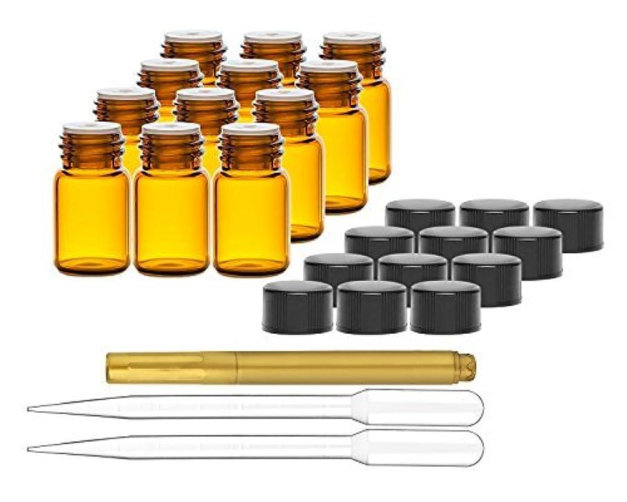 解明名誉ある突破口Culinaire 12 Pack Of 2 ml Amber Glass Bottles with Orifice Reducers and Black Caps & (2x) 3 ml Droppers with Gold...