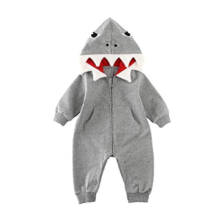 ロンパース 幼児服 漫画 サメの形 ベビー ジャンプスーツ カバーオール 長袖 フーディー ジッパー 暖かい 柔らかい かわいい 幼児