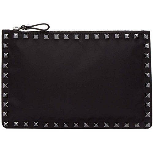 (ヴァレンティノ) Valentino メンズ バッグ クラッチバッグ Black Valentino Garavani Small Nylon Rockstud Pouch 並行輸入品