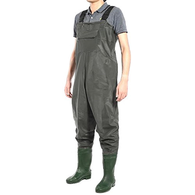 音節シェーバープレゼンテーションLucidz チェストウェーダーズ オーバーオール 防水 鯉 フライ 粗い緑色 PVCブーツ付き 釣りサイズ 11.5: メンズシューズ サイズ: 11-11.5