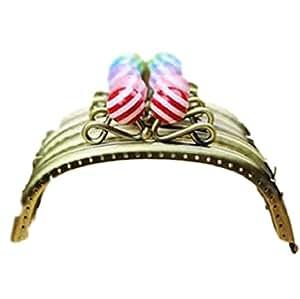 チェーン付き! 大きい あめ玉 がま口 口金 12.5cm チェーン ゴールド 40cm 5本付 カラフル ストライプ 大玉 5色セット ( 青 ・ 紫 ・ ピンク ・ 赤 ・ 緑 ) ガマ口
