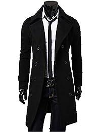 メンズ ラペルコート 3色 ハーフコート スリムジャケット ビジネスコート テーラードジャケット スタンダードコート フロックコート チェスターコート ダブルブレスト アウター エレガント 長袖 サイズ豊富 クマのぬいぐるみ付き K5205 (M, ブラック)