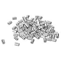 uxcell ワイヤーロープアルミスリーブ スチールロープ クリップ継手 内径1.4mm シルバートーン 100個入り
