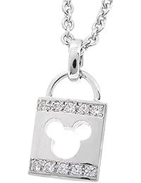 [ディズニー] Disney ミッキー 鍵穴 シルバー 925 ネックレス レディース 公式 アクセサリー シンプル ペンダント トップ