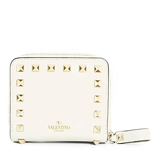 VALENTINO ヴァレンティノ MW2P0649 BOL ロックスタッズ装飾 二つ折り ラウンドファスナー ミディアム財布 ミニ財布 豆財布 カラーI16/BIANCO [並行輸入品]