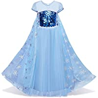 Girl's Snow Princess Elsa Costume Sequins Blue Short Puff Sleeve Dress Cosplay Halloween Birthday Party Dress Fancy Dress