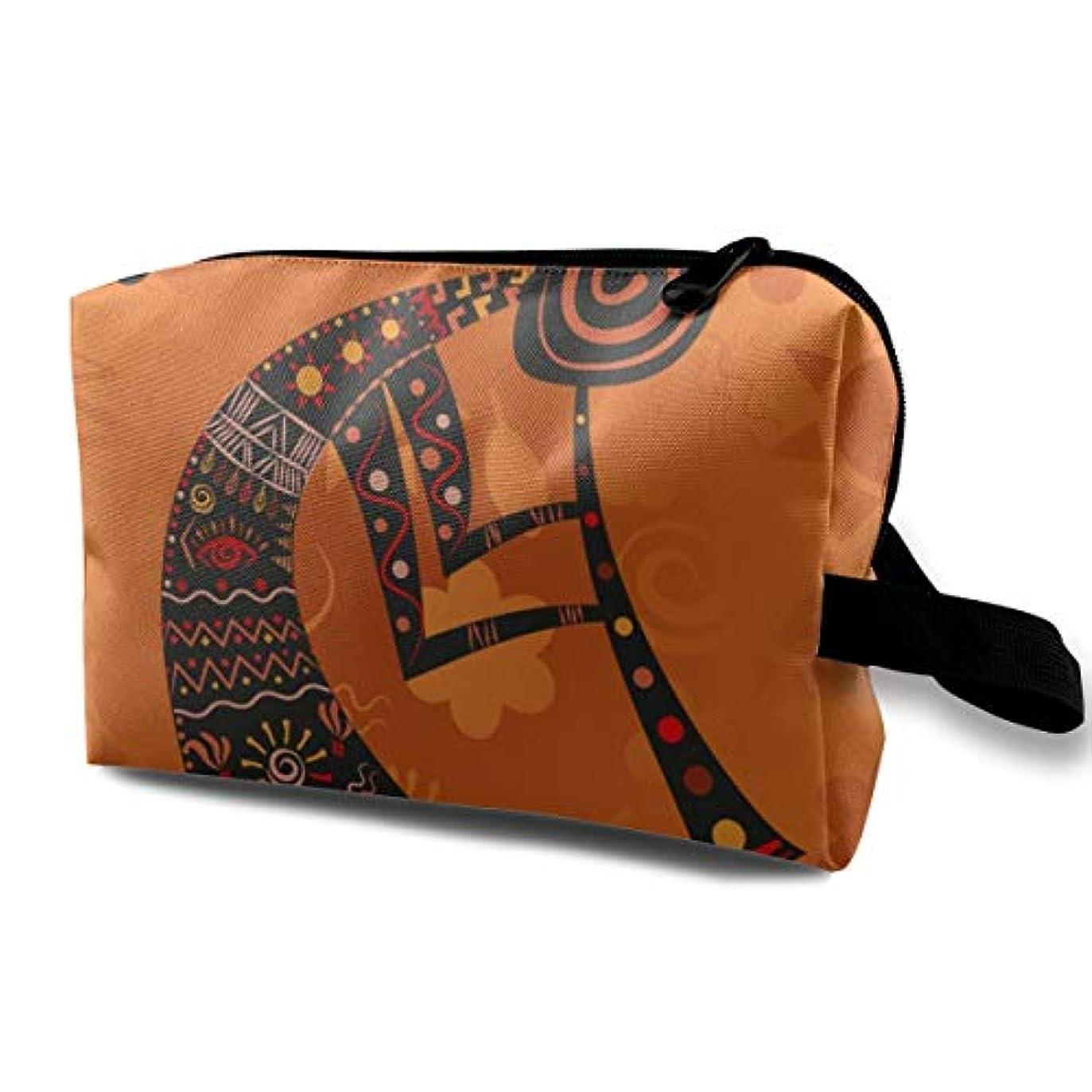 キリンペレット宿題Ethnic African Deity 収納ポーチ 化粧ポーチ 大容量 軽量 耐久性 ハンドル付持ち運び便利。入れ 自宅?出張?旅行?アウトドア撮影などに対応。メンズ レディース トラベルグッズ