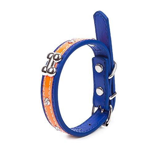Pettom 犬用 反射首輪 小型犬 中型犬 大型犬 レザー ファッション 高級感 光に反射 可愛い ブルー