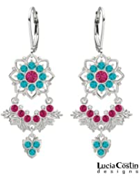 Flattering Chandelier Earrings by Lucia Costin Crafted in .925 Sterling Silver with Fuchsia and Turquoise Green...