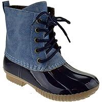 Krazy Kids Luna Little Girls Two Tone Lace Up Rain Duck Boots