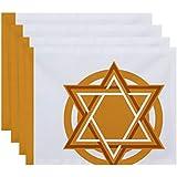 E byデザインHanukkah Star Bright Geometric Printプレースマット – 4のセット 1 ゴールド PT4GHN565YE10