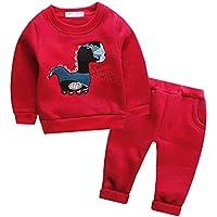 Mud Kingdom Little Girls Cartoon Fleece Outfits Sweatshirts and Pants Set