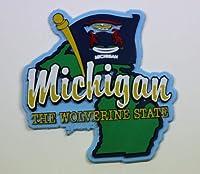 ミシガン州状態map-flag冷蔵庫Collectibleお土産マグネット