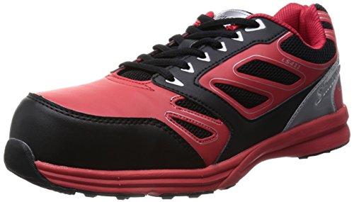[シモン] プロスニーカー JSAA規格 耐滑 軽快 短靴 スニーカー 紐 LS411レッド/ブラック レッド/ブラック 24