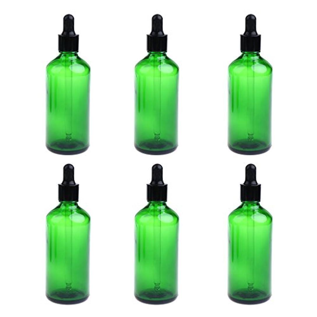 銀行貸す環境に優しい6本 ボトル ドロッパーボトル 100ml 旅行小物 詰替え マッサージ 美容室 ヘアサロン 3色選べる - 緑