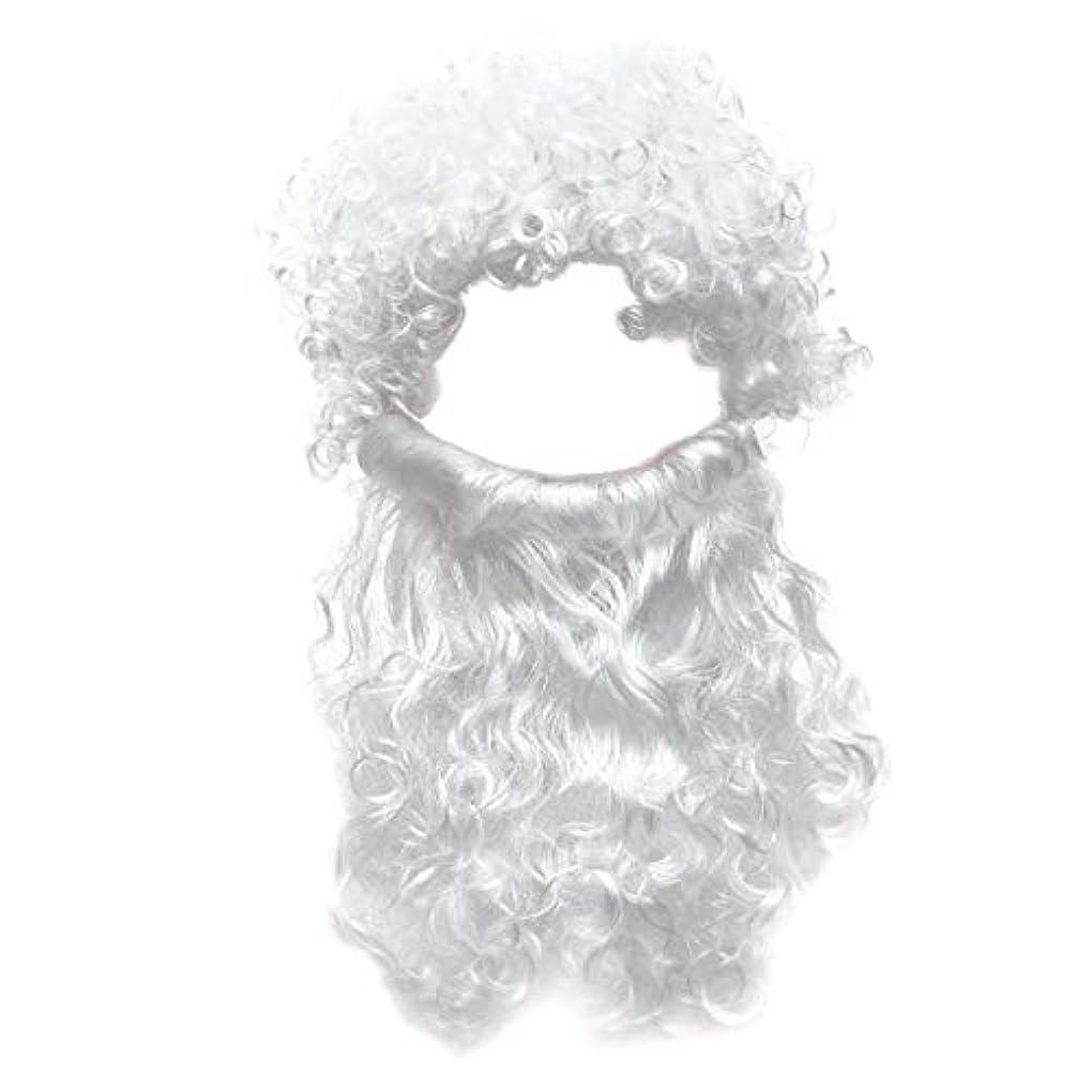 回転ぼかすシールBeaupretty 2本の男性のハロウィンコスチュームコスプレ波状のイエスの髪の毛の髪セットひげセットホワイト
