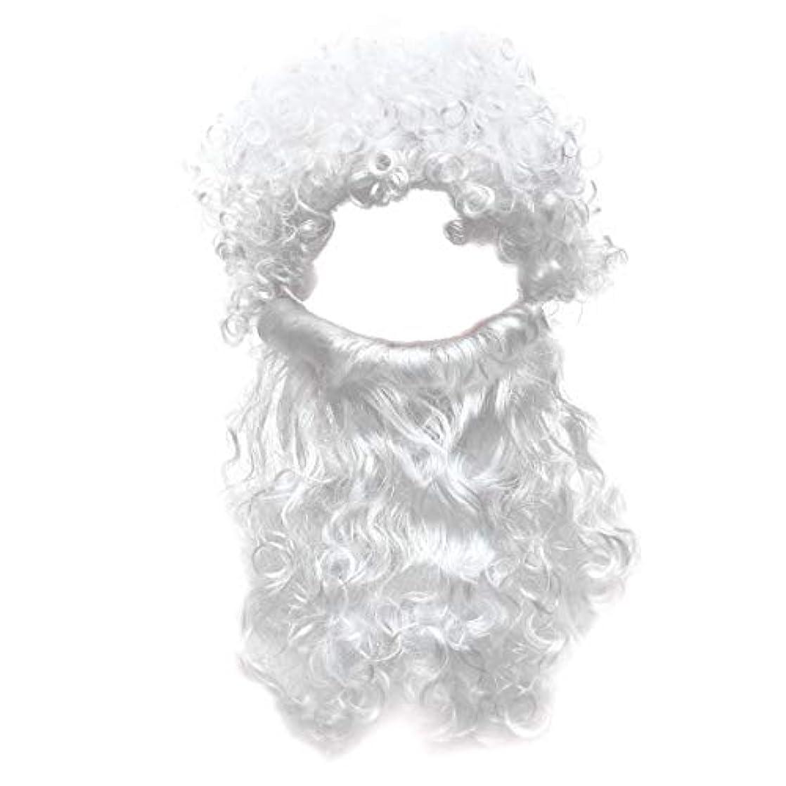 予想する接続されたゆでるBeaupretty 2本の男性のハロウィンコスチュームコスプレ波状のイエスの髪の毛の髪セットひげセットホワイト