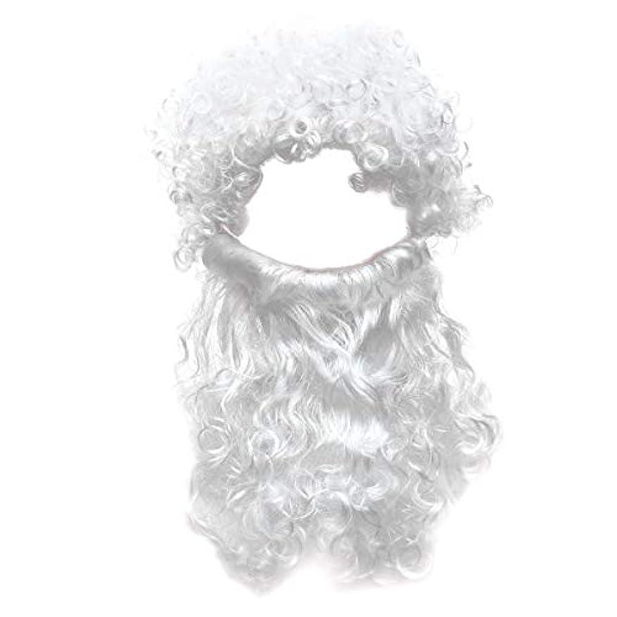 代表する恥ずかしさスイングBeaupretty 2本の男性のハロウィンコスチュームコスプレ波状のイエスの髪の毛の髪セットひげセットホワイト