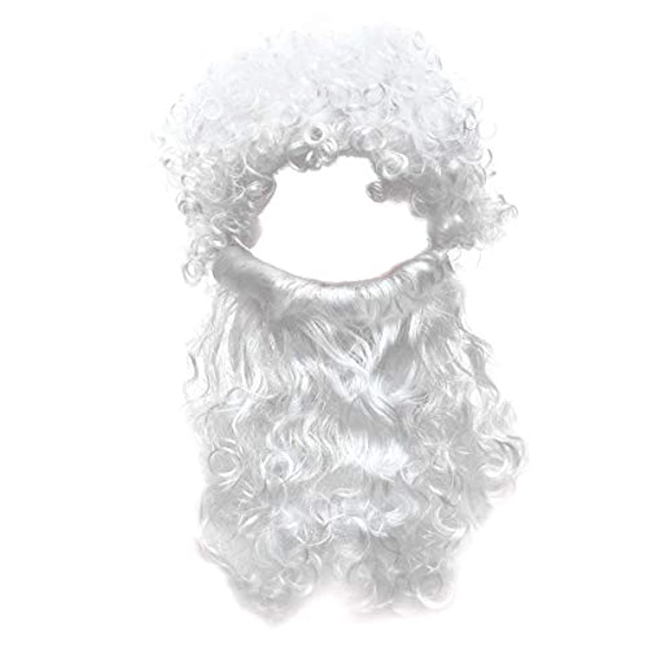 ハッピー抑圧する凝視Beaupretty 2本の男性のハロウィンコスチュームコスプレ波状のイエスの髪の毛の髪セットひげセットホワイト