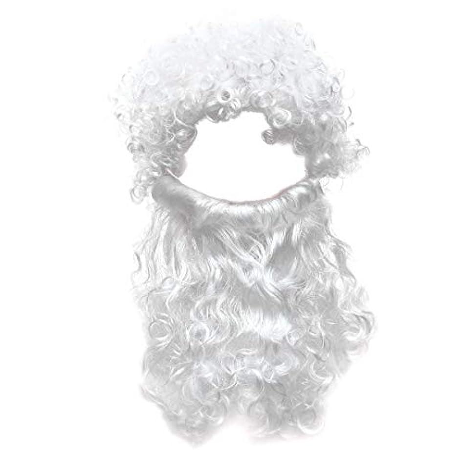 メイド安らぎラップトップBeaupretty 2本の男性のハロウィンコスチュームコスプレ波状のイエスの髪の毛の髪セットひげセットホワイト