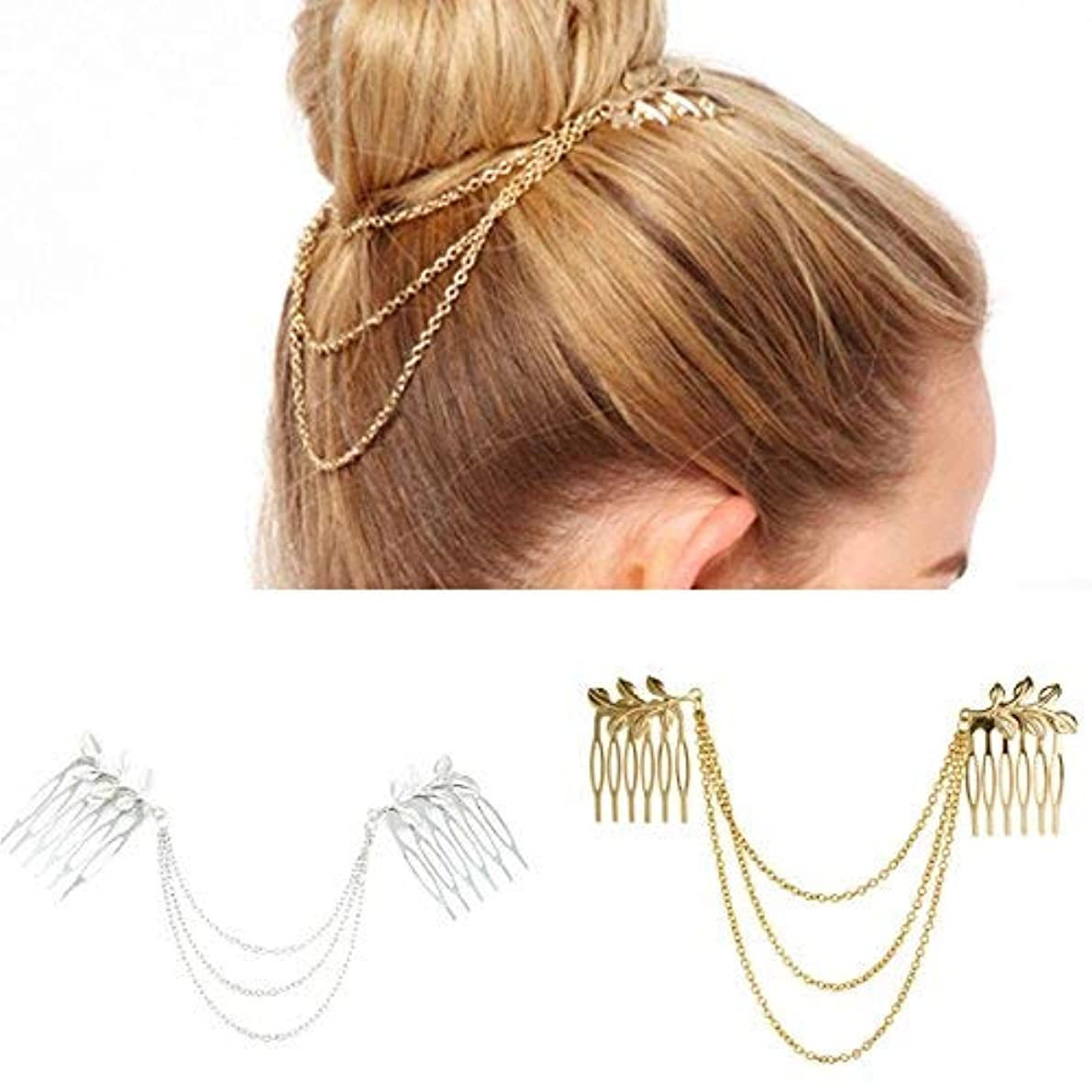 限界不規則性揃えるNumblartd 2 Pcs Women BOHO Chic Metal Leaf Chain Tassel Headband Hair Comb - Fashion Fringe Hair Clip Pins Hairpin...