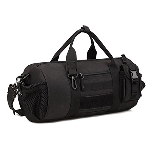 Sunvp タクティカル ミリタリー MOLLE ボストンバッグ ロールボストンバッグ ショルダーバッグ 手持ちバッグ メンズ レディース 旅行大容量( ブラック)