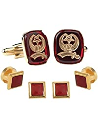 Shriner Insignia Inlay Ruby withゴールドトリムStuds and cufflinks