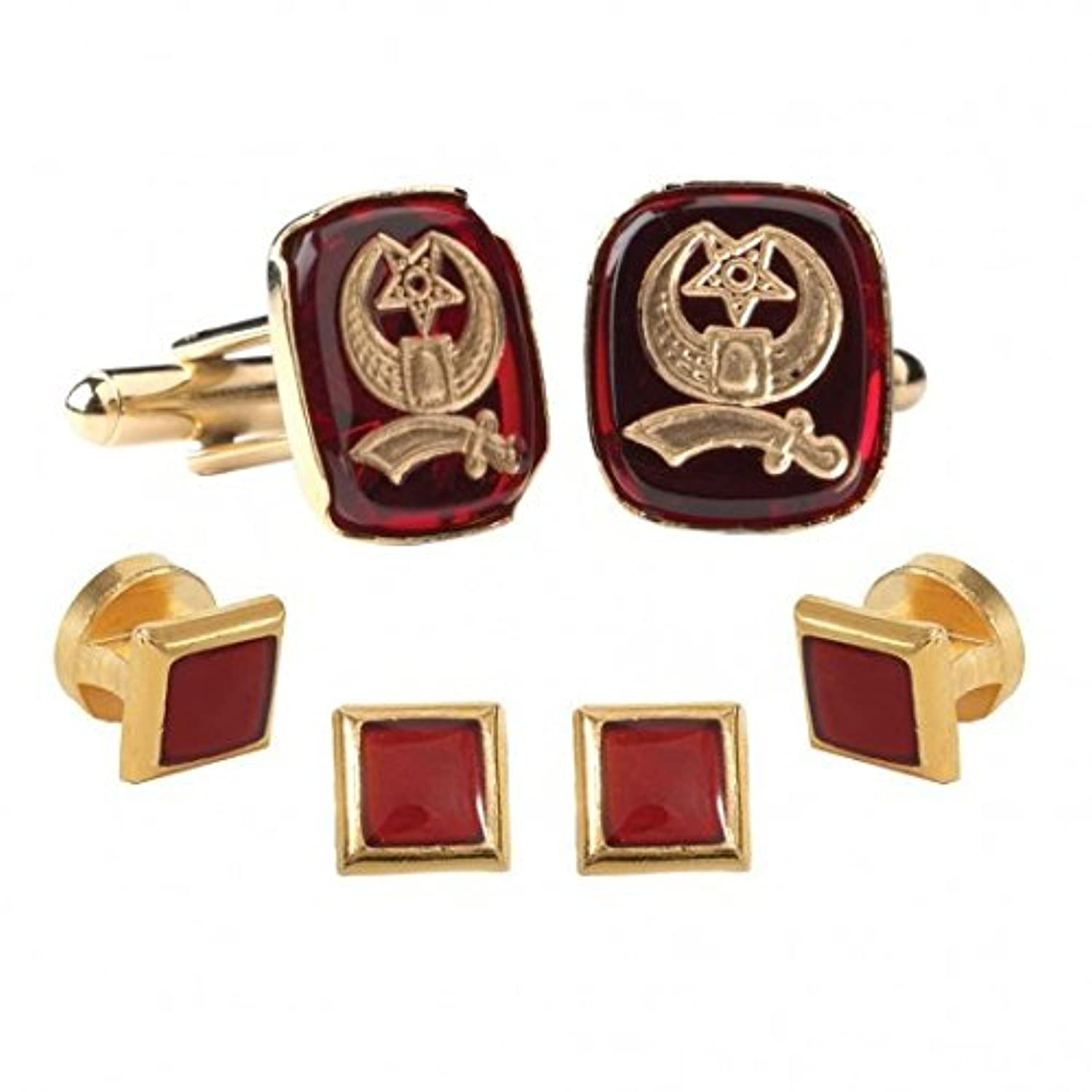 Shriner Insignia Inlay Ruby withゴールドトリムStuds and cufflinks
