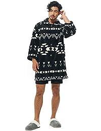 グルーニー Groony 2018ver 着る毛布 ルームジャケット マイクロファイバー 静電気防止 ポケット付 ネイビー 男女兼用 フリーサイズ 着丈95㎝ ネイティブブラック
