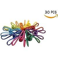 ericotry 30個パックカラフルな多目的Clotheslineユーティリティクリップスチールワイヤクリップ防風Clothespin For乾燥ホームランドリーOfficeコードClothespins FastenerソックスScarfs