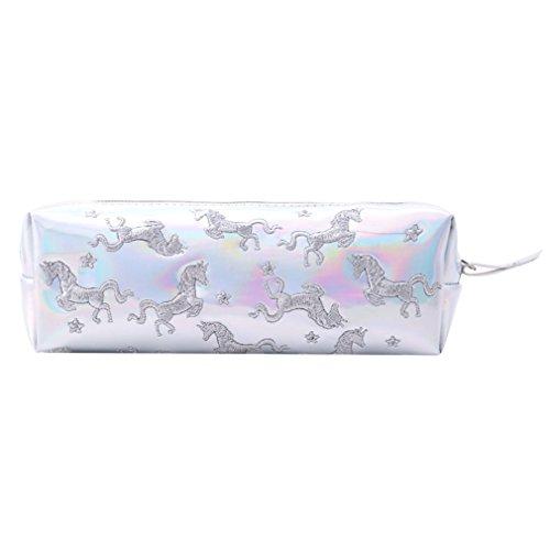BEE&BLUE ペンケース 筆箱 文具 筆入 シンプル ユニコーン PU ピンク 動物鉛筆バッグ バッグPUペンジッパーケース