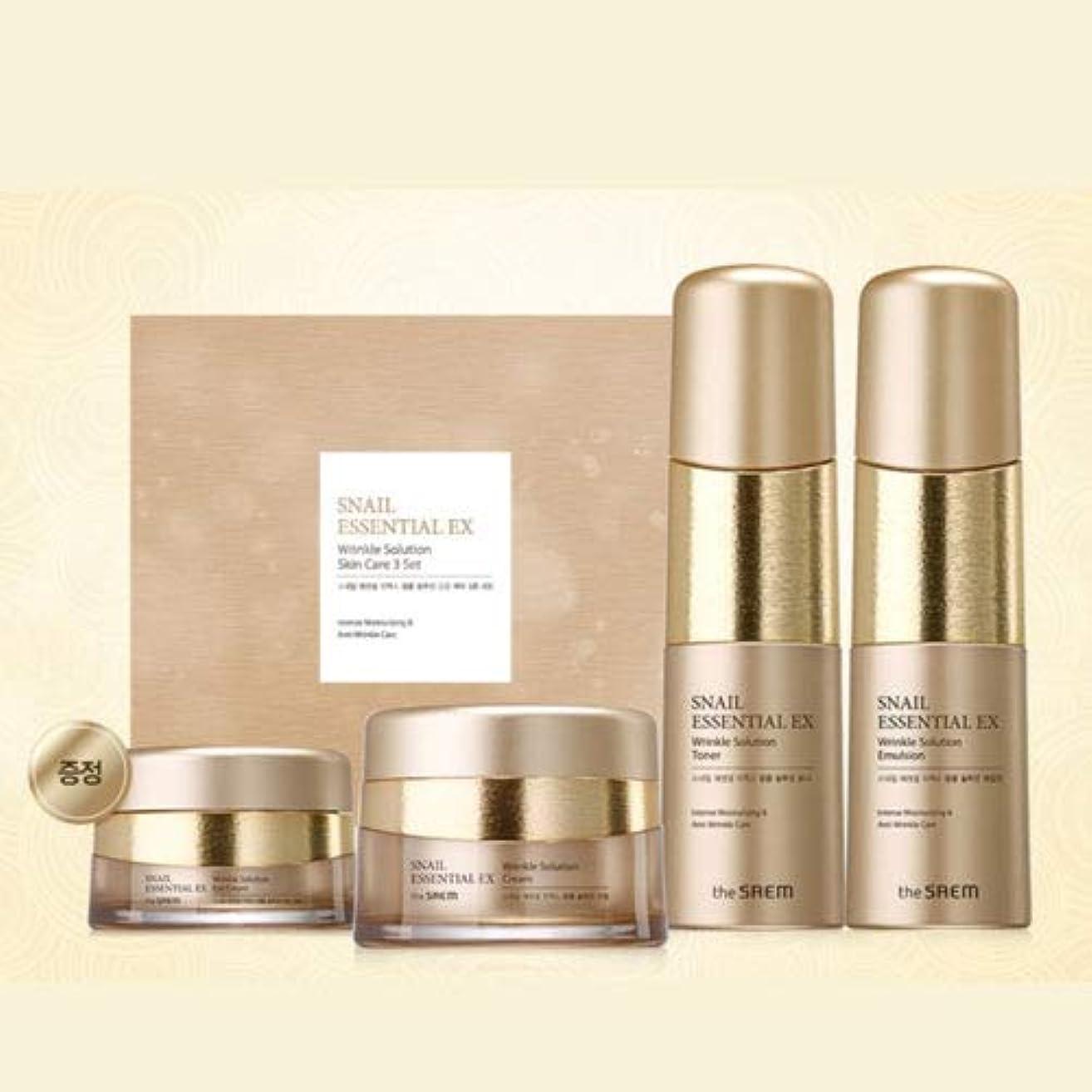 ギャングバズ失礼[ザセム] The Saem [スネイル エッセンシャル EXリンクルソリューション スキンケア 3種セット] (Snail Essential EX-Wrinkle Solution Skin Care 3Set) [並行輸入品]