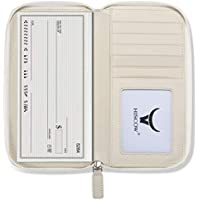 HISCOW Zippered Checkbook Cover & Card Holder with Divider - Italian Calfskin