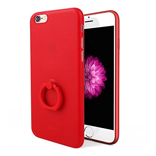 【 a-mumu 】 iPhone6s Plus ケース iPhone6s Plus ケース [ 0.4mm超薄 超軽量 全面保護 高級感 手触り良い 落下防止 バンカーリング ] アイフォン6s Plus / アイフォン6 Plus 5.5インチ 用 耐衝撃 スタンド機能付き カバー レッド