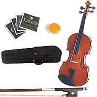 Mendini 12-Inch MA250 Natural Varnish Solid Wood Viola with Case Bow Rosin Bridge and Strings [並行輸入品]